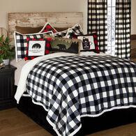 Lumberjack Black & White Plaid 3-piece Sherpa Twin Bedding Set