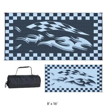 Reversible Checkered Flag Design Patio Mat, 8' x 16', Blue/Black
