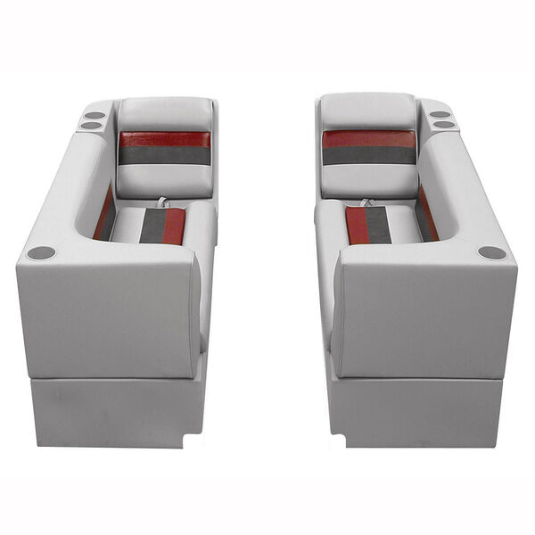Deluxe Pontoon Furniture w/Toe Kick Base - Front Group Package B, Gray/Red/Charc
