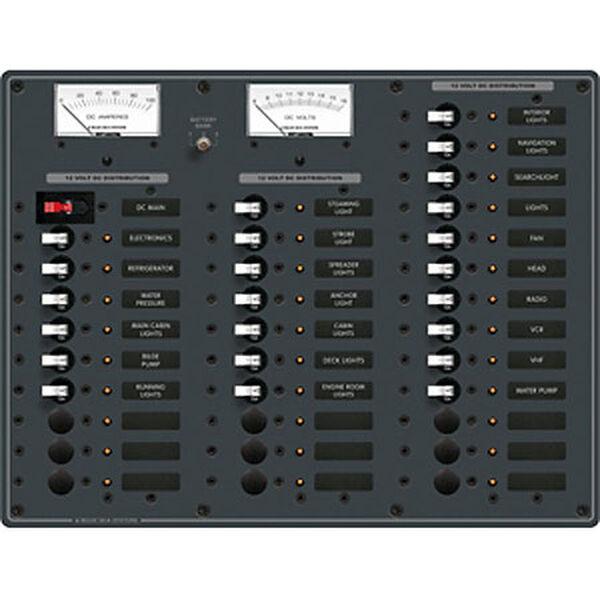 Blue Sea 12V DC Main + 32 Position Circuit Breaker Panel w/Analog Meters