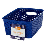 Home Collections Medium Storage Bin with Cutout Handles, Navy Blue