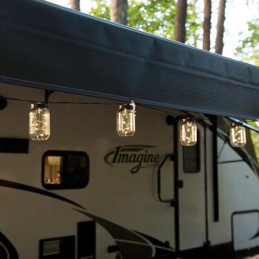 Mason Jar Firefly LED Lights, 21', 16 Jars