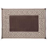 Reversible Greek Motif Design Patio Mat, 6' x 9', Coffee/Brown
