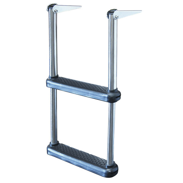 Telescoping Drop Ladder With Plastic Steps, 2-Step