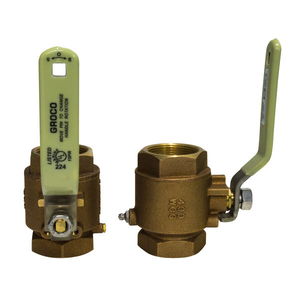 "Groco IBV Series Bronze Full-Flow In-Line Ball Valve, 3/4"" Pipe"