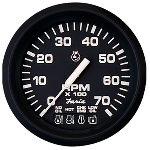 "Faria 4"" Euro Black Series Tach/System Check, 7,000 RPM"