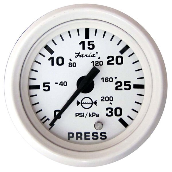 "Faria 2"" Dress White Series Water Pressure Gauge Kit, 30 PSI"