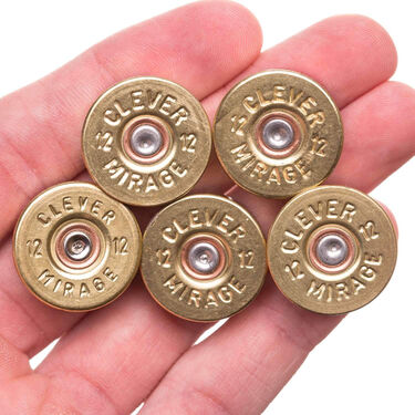 Lucky Shot 12-Gauge Real Bullet Magnets – Brass, 5-Pack