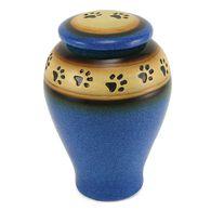 Ceramic Paw Print Pet Urn, Blue, Medium