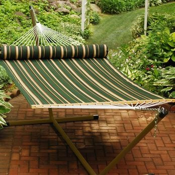 Quilted Hammock with Pillow, 13', Green