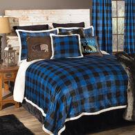 Wrangler Lumberjack Black & Blue Plaid 4-piece Sherpa Queen Bedding Set