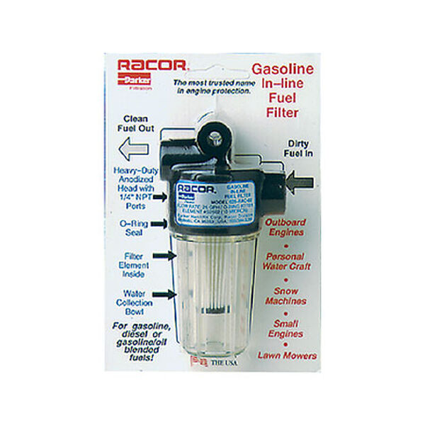 In-Line Gasoline Fuel Filter, See-Through