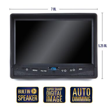 """Rear View Camera System - One Camera Setup with 7"""" Flushmount Monitor"""