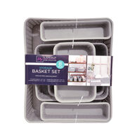 Lincoln Home Collection 8-Piece Storage Basket Set, Light Gray