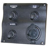 Seasense Marine Splash-Proof 3-Gang Switch Panel with 12V Socket