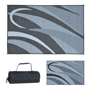 Reversible RV Graphic Design Patio Mat, 8' x 20', Black/Silver