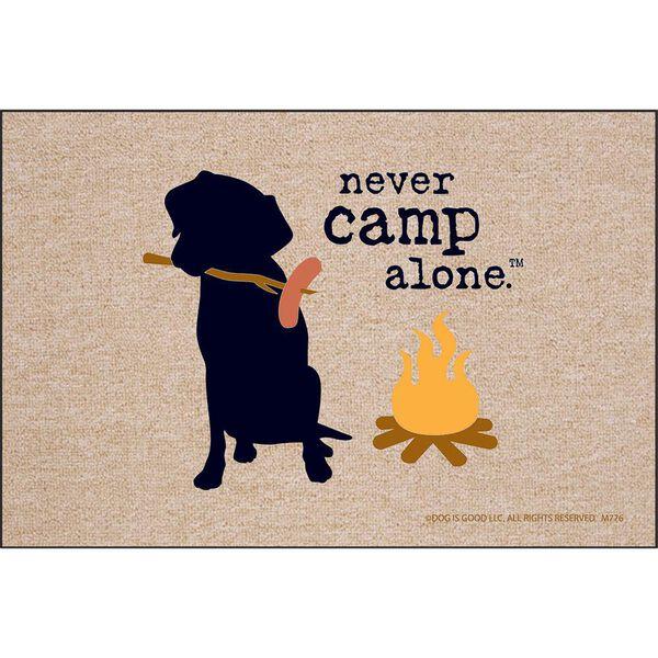 "Never Camp Alone Door Mat, 18"" x 27"""