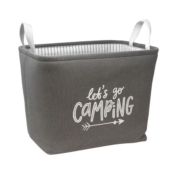 Let's Go Camping Rectangular Storage Bin, Charcoal