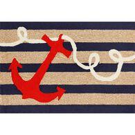 """Navy Anchor Rug, 24"""" x 36"""""""