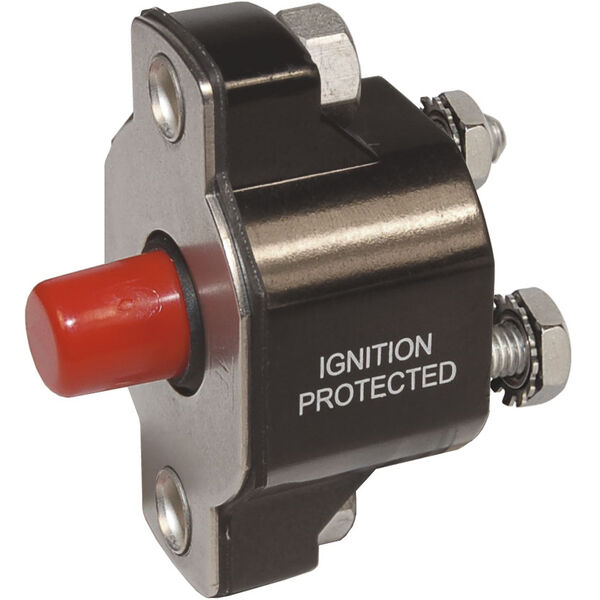 Blue Sea Systems Medium-Duty Push-Button Reset-Only Circuit Breaker, 30 Amps