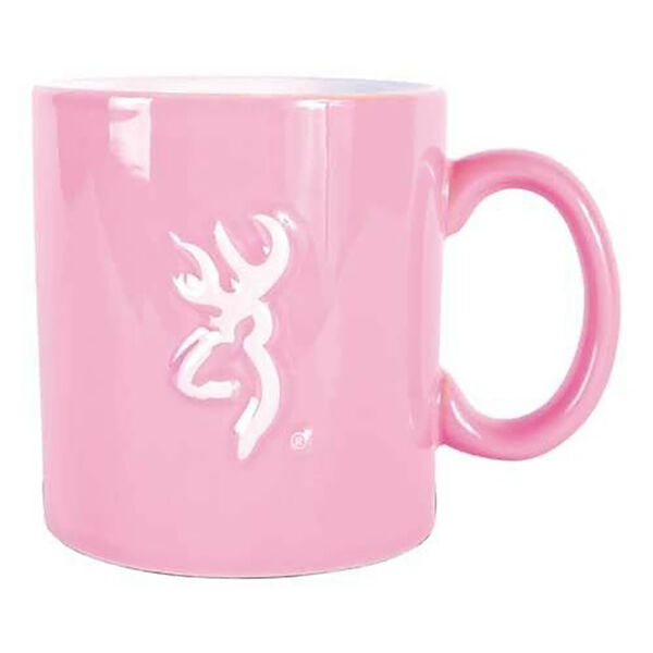 Browning Buckmark Ceramic Mug, Pink with White Logo