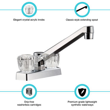 Dura Faucet Two Handle Kitchen/Bar Faucet with Acyrlic Knobs, Chrome Polished