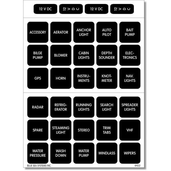 Blue Sea 4215 Square Format DC Panel Label Set, 30 labels