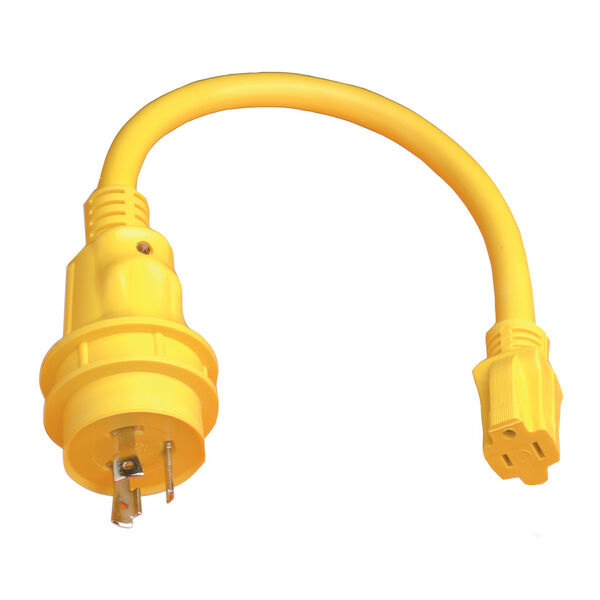 Marinco Pigtail Adapter, 15A 125V / 30A 125V