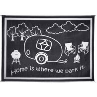 """Reversible """"Home Is Where We Park It"""" RV Patio Mat, 8' x 11', Black/White"""