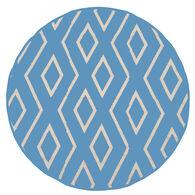 Reversible 7' Round Tribal Design Patio Mat, blue/light blue