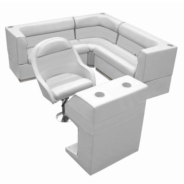 Deluxe Pontoon Furniture w/Toe Kick Base - Rear Group 4 Package, Gray