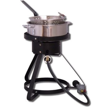 "16"" Outdoor Cooker w/ Stainless Steel Fry Pan and Basket"