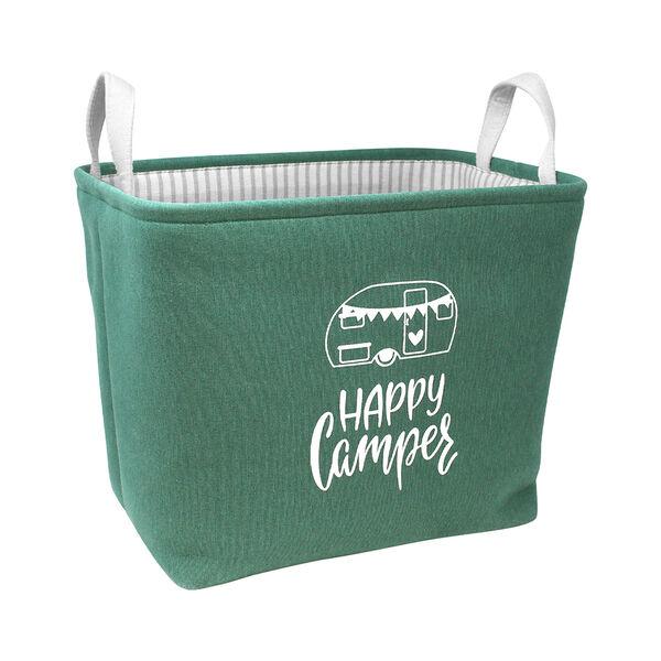 Happy Camper Rectangular Storage Bin, Forest Green