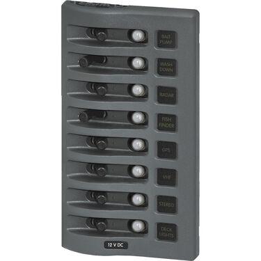 Blue Sea WeatherDeck Waterproof Circuit Breaker Panel - 8 Positions, gray