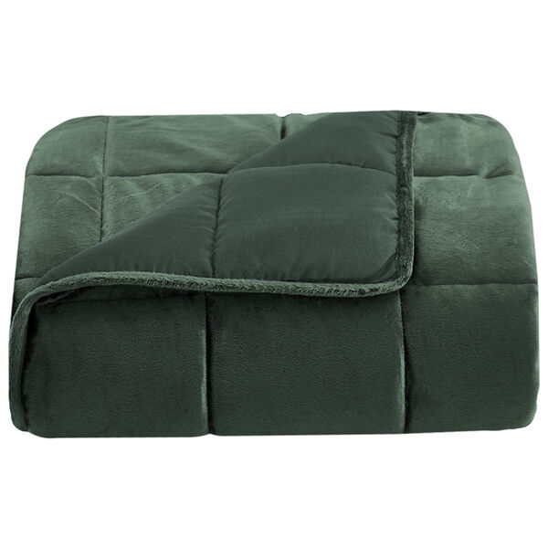 """Lazy Mondays Reversible Microfiber 15-lb. Weighted Blanket, 48"""" x 72"""", Mountain Green"""