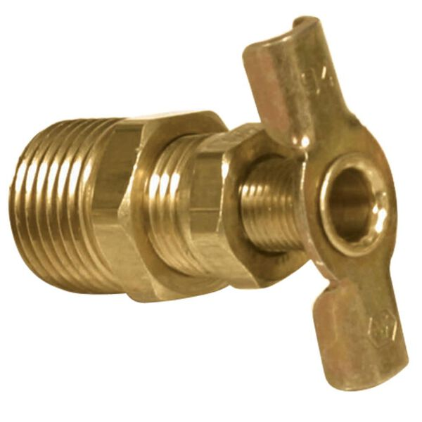 "Brass Water Heater Drain Valve, 3/8"""
