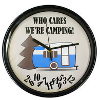 """Who Care, We're Camping"" Wall Clock"