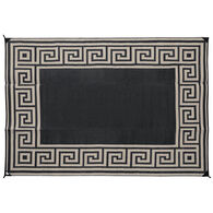 Reversible Greek Motif Design Patio Mat, 6' x 9', Black/Taupe