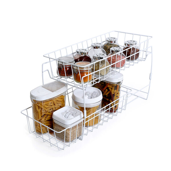 Smart Design 2-Tier Stackable Pull-Out Baskets, White
