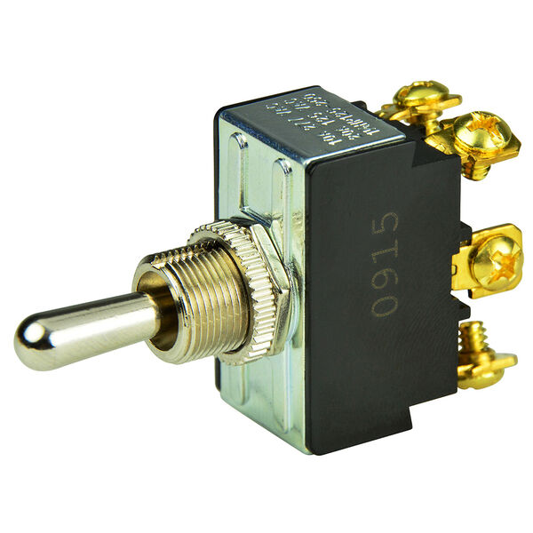BEP DPDT Chrome Plated Toggle Switch, (On)/Off/(On)