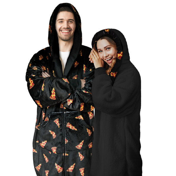 Sherpy Oversized Hoodie Blanket Reversible Sherpa Sweatshirt, Pizza