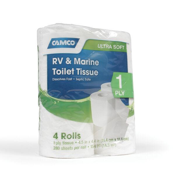 Camco 1-Ply RV & Marine Toilet Tissue, 4 Rolls