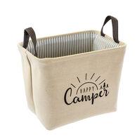 Happy Camper Rectangular Storage Bin, Linen