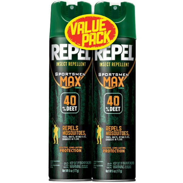Repel Insect-Repellent Sportsmen Max Formula 6.5-Oz. Aerosol Spray-Can Twin Pack