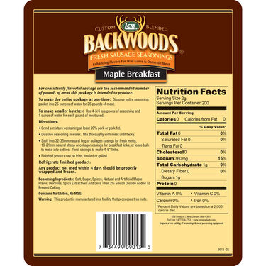 LEM Backwoods Maple Breakfast Fresh Sausage Seasoning, 25 lbs.