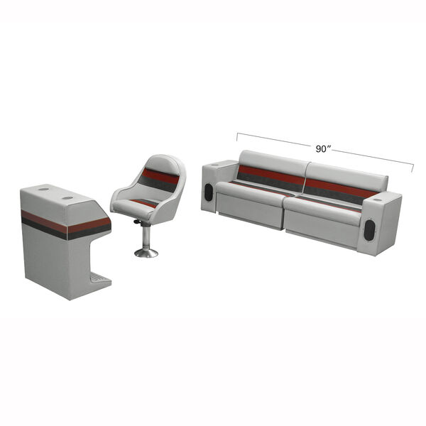 Deluxe Pontoon Furniture w/Toe Kick Base - Rear Basic Package, Gray/Red/Charcoal