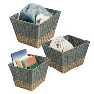 Honey Can Do Square Nesting Seagrass 2-Color Baskets – Natural/Grey, Set of 3