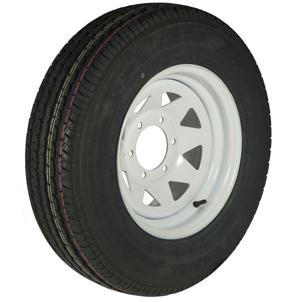 Trailer King II ST225/75 R 15 Radial Trailer Tire, 6-Lug White Spoke Rim