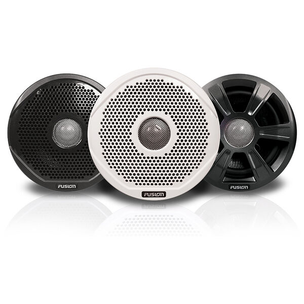 """FUSION 6"""" Round 2-Way IPX65 Marine Speakers - 200W - (Pair) w/3 Speaker Grilles Provided"""