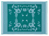Reversible Floral Design Patio Mat, 9' x 12', Green/White